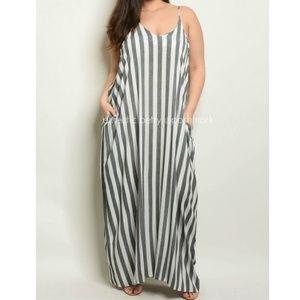 Love In Black & White Stripe Harem Maxi Dress